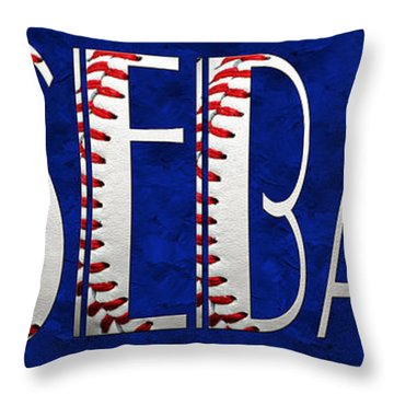 The Word Is Baseball On Blue Throw Pillow by Andee Design