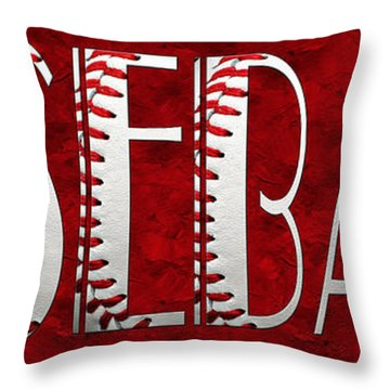 The Word Is Baseball On Red Throw Pillow by Andee Design