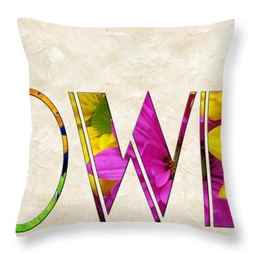 The Word Is Flowers Throw Pillow by Andee Design