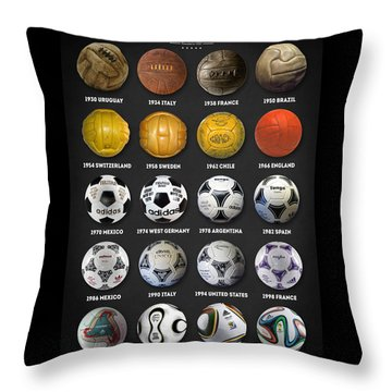 The World Cup Balls Throw Pillow by Taylan Apukovska