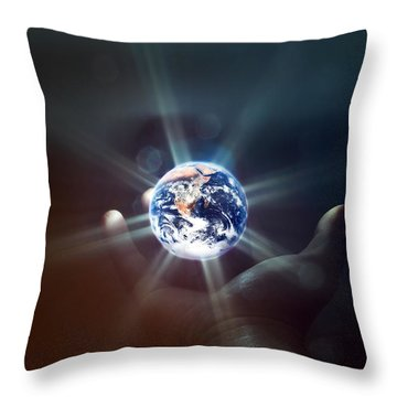 The World In The Palm Of Your Hand Throw Pillow
