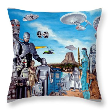 The World Of Sci Fi Throw Pillow by Tony Banos