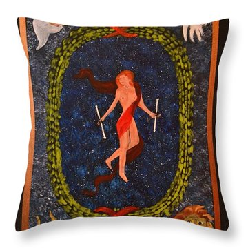 Throw Pillow featuring the painting The World Tarot by Denise Tomasura