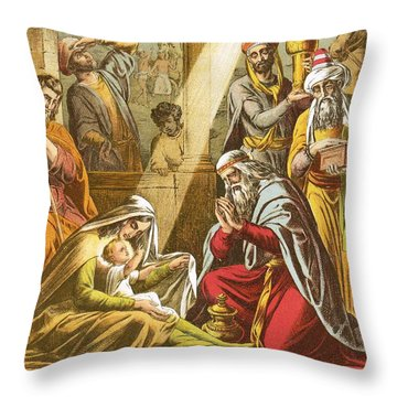 The Worship Of The Wise Men  Throw Pillow by English School