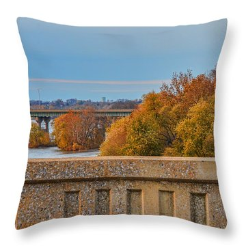 The Wright's Ferry Bridge In Fall Throw Pillow