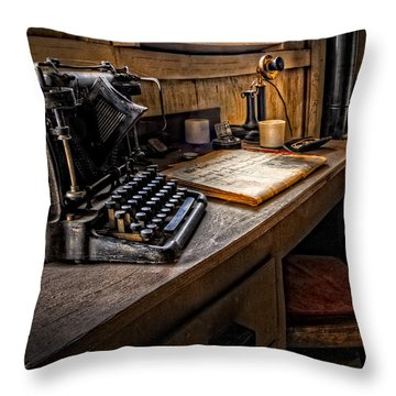 Throw Pillow featuring the photograph The Writer's Desk by Debra and Dave Vanderlaan