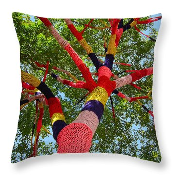 Throw Pillow featuring the sculpture The Yarn Tree by Dan Redmon