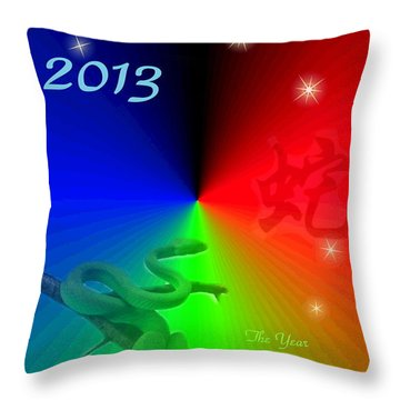 The Year Of The Snake Throw Pillow by Joyce Dickens