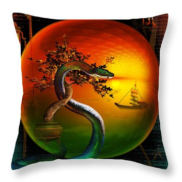 Throw Pillow featuring the digital art The Year Of The Snake by Shadowlea Is