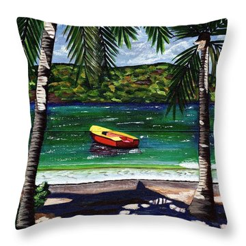 Throw Pillow featuring the painting The Yellow And Red Boat by Laura Forde