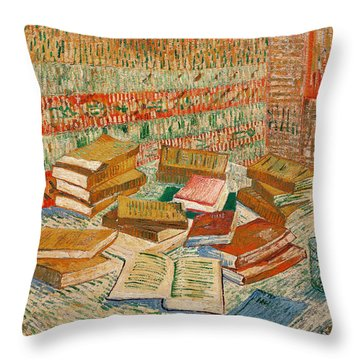 The Yellow Books Throw Pillow by Vincent Van Gogh