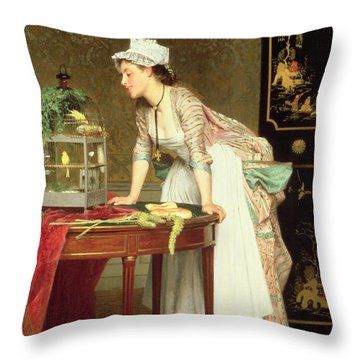 The Yellow Canaries Throw Pillow by Joseph Caraud