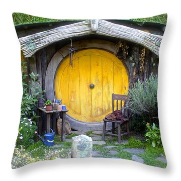 Yellow Hobbit Door Throw Pillow