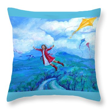 Throw Pillow featuring the painting The Yellow Kite  by Trudi Doyle
