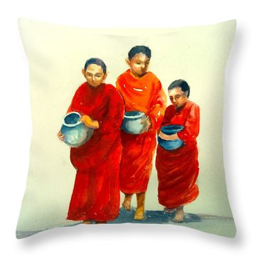 The Young Monks Throw Pillow