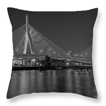 The Zakim Bridge Bw Throw Pillow
