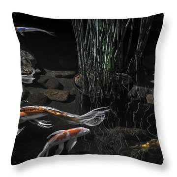 Throw Pillow featuring the photograph The Zen Of Koi by Glenn DiPaola
