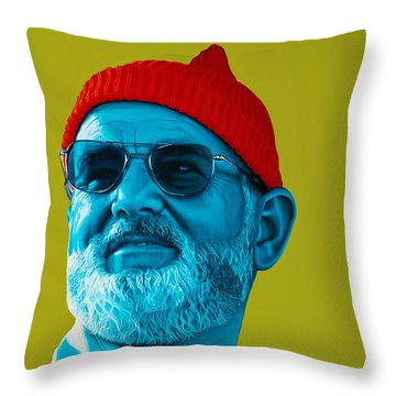 The Zissou- Background Edit Throw Pillow by Ellen Patton
