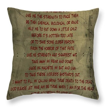 The Zombie Hunter's Prayer Throw Pillow by Cinema Photography
