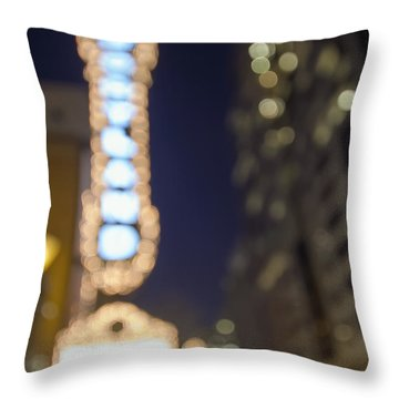 Theater Marquee Lights On Broadway Bokeh Background Throw Pillow by Jit Lim