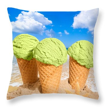 Thee Minty Icecreams Throw Pillow