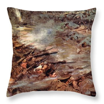 Their Men Advanced In Dense Masses Throw Pillow by Cyrus Cuneo