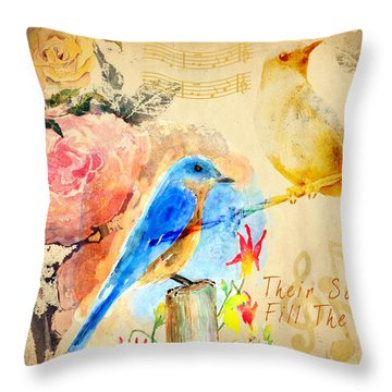 Throw Pillow featuring the mixed media Their Sounds Fill The Air by Arline Wagner