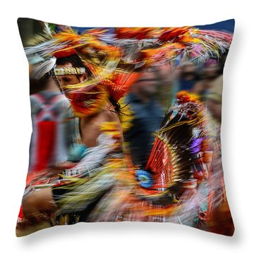 Their Spirit Is Among Us - Nanticoke Powwow Delaware Throw Pillow