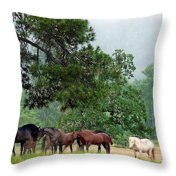 Their Umbrella Throw Pillow
