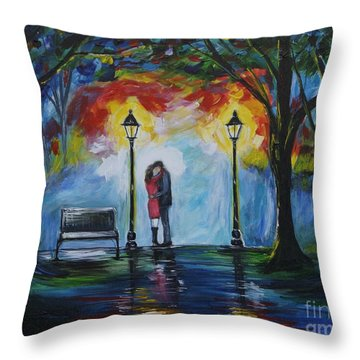 Then He Kissed Me Throw Pillow by Leslie Allen