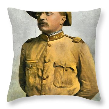 Theodore Roosevelt As A Rough Rider Throw Pillow