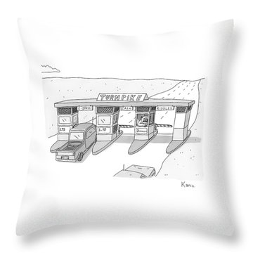 There Is A Toll Both With A Riddles Lane Throw Pillow