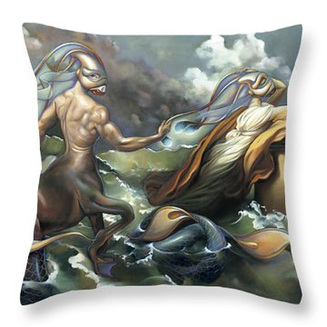 There's Something Fowl Afloat Throw Pillow by Patrick Anthony Pierson