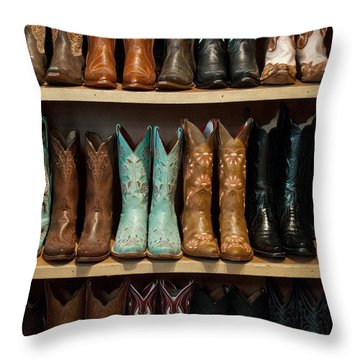 Throw Pillow featuring the photograph These Boots Were Made For Walking by Jani Freimann