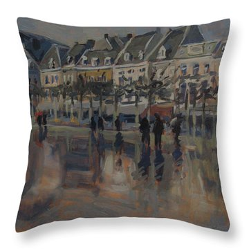 Throw Pillow featuring the painting The Vrijthof Just After The Rain In Maastricht by Nop Briex