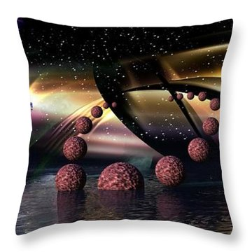 They Came From Outer Space Throw Pillow by Jacqueline Lloyd