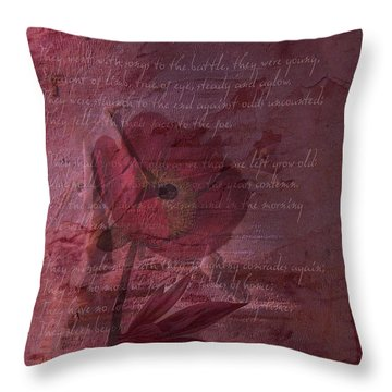 They Shall Grow Not Old Throw Pillow by Sarah Vernon