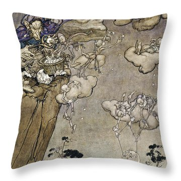 They Were Ruled By An Old Squaw Spirit Throw Pillow by Arthur Rackham