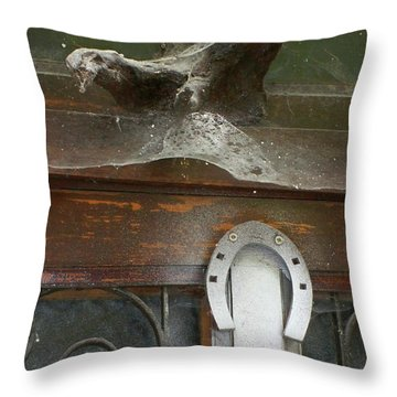 Throw Pillow featuring the photograph Thing Above The Door by Newel Hunter
