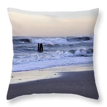 Think Metal - Morning Ocean Rockaways Throw Pillow
