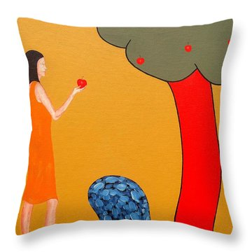 Thinking About The Apple Throw Pillow by Patrick J Murphy