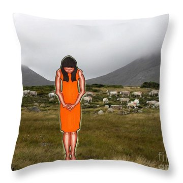 Thinking About The Shepherd Throw Pillow by Patrick J Murphy