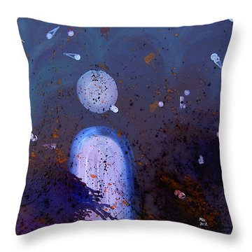 Throw Pillow featuring the painting Thinking by Min Zou