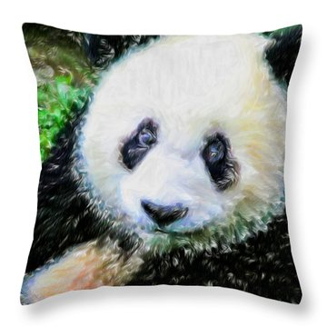Throw Pillow featuring the painting Thinking Of David Panda by Lanjee Chee