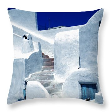 Thirasia Island Ancient House Near Santorini Greece Throw Pillow