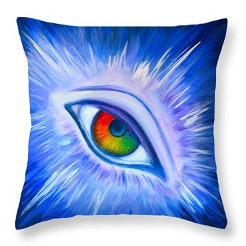Throw Pillow featuring the painting Third Eye Diamond by Agata Lindquist