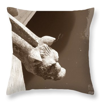 Thirsty Gargoyle - Sepia Throw Pillow