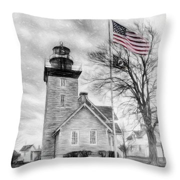 Thirty Mile Point Light Throw Pillow by Jim Lepard