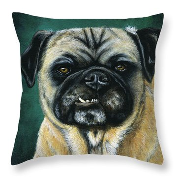 This Is My Happy Face - Pug Dog Painting Throw Pillow