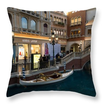 It's Not Venice - The White Wedding Gondola Throw Pillow